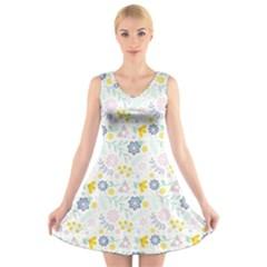 Vintage Spring Flower Pattern  V-Neck Sleeveless Skater Dress