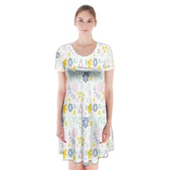 Vintage Spring Flower Pattern  Short Sleeve V-neck Flare Dress