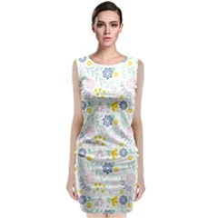Vintage Spring Flower Pattern  Classic Sleeveless Midi Dress