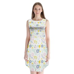 Vintage Spring Flower Pattern  Sleeveless Chiffon Dress