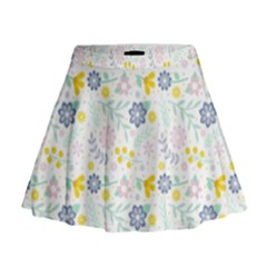 Vintage Spring Flower Pattern  Mini Flare Skirt