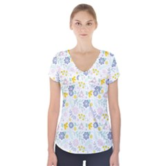 Vintage Spring Flower Pattern  Short Sleeve Front Detail Top