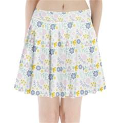 Vintage Spring Flower Pattern  Pleated Mini Skirt