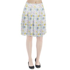 Vintage Spring Flower Pattern  Pleated Skirt