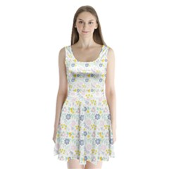 Vintage Spring Flower Pattern  Split Back Mini Dress