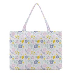 Vintage Spring Flower Pattern  Medium Tote Bag