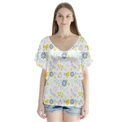 Vintage Spring Flower Pattern  Flutter Sleeve Top