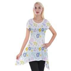 Vintage Spring Flower Pattern  Short Sleeve Side Drop Tunic