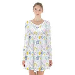 Vintage Spring Flower Pattern  Long Sleeve Velvet V-neck Dress