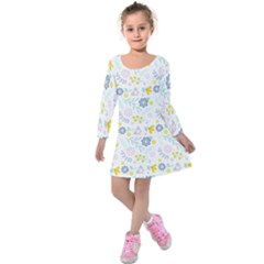 Vintage Spring Flower Pattern  Kids  Long Sleeve Velvet Dress