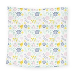 Vintage Spring Flower Pattern  Square Tapestry (large)