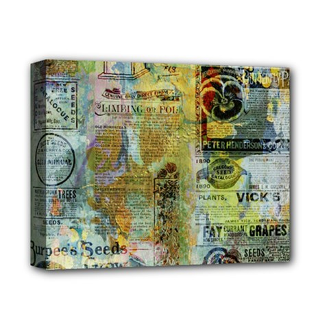 Old Newspaper And Gold Acryl Painting Collage Deluxe Canvas 14  x 11