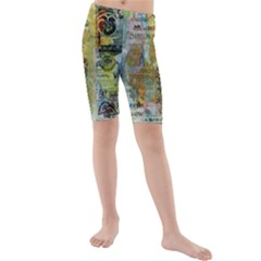 Old Newspaper And Gold Acryl Painting Collage Kids  Mid Length Swim Shorts