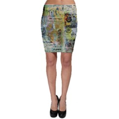 Old Newspaper And Gold Acryl Painting Collage Bodycon Skirt