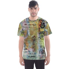 Old Newspaper And Gold Acryl Painting Collage Men s Sport Mesh Tee