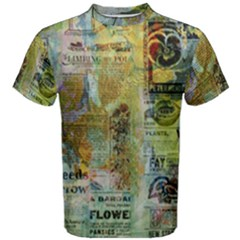 Old Newspaper And Gold Acryl Painting Collage Men s Cotton Tee