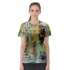 Old Newspaper And Gold Acryl Painting Collage Women s Sport Mesh Tee