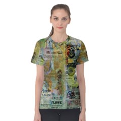 Old Newspaper And Gold Acryl Painting Collage Women s Cotton Tee