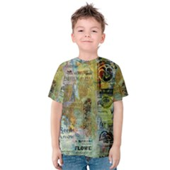 Old Newspaper And Gold Acryl Painting Collage Kids  Cotton Tee