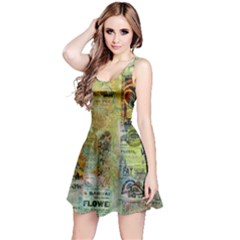 Old Newspaper And Gold Acryl Painting Collage Reversible Sleeveless Dress