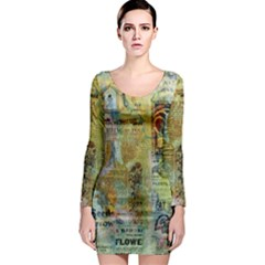 Old Newspaper And Gold Acryl Painting Collage Long Sleeve Bodycon Dress