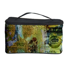 Old Newspaper And Gold Acryl Painting Collage Cosmetic Storage Case
