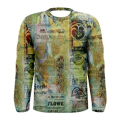 Old Newspaper And Gold Acryl Painting Collage Men s Long Sleeve Tee