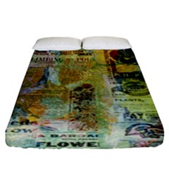 Old Newspaper And Gold Acryl Painting Collage Fitted Sheet (King Size)