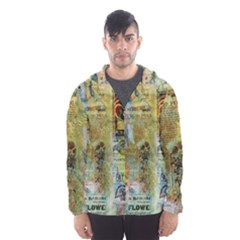 Old Newspaper And Gold Acryl Painting Collage Hooded Wind Breaker (Men)