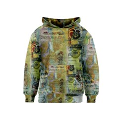 Old Newspaper And Gold Acryl Painting Collage Kids  Pullover Hoodie