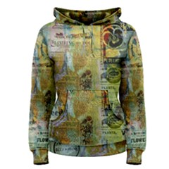 Old Newspaper And Gold Acryl Painting Collage Women s Pullover Hoodie