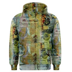 Old Newspaper And Gold Acryl Painting Collage Men s Zipper Hoodie