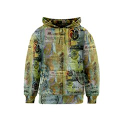 Old Newspaper And Gold Acryl Painting Collage Kids  Zipper Hoodie