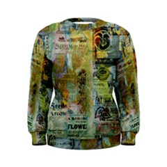 Old Newspaper And Gold Acryl Painting Collage Women s Sweatshirt