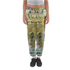 Old Newspaper And Gold Acryl Painting Collage Women s Jogger Sweatpants