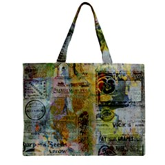 Old Newspaper And Gold Acryl Painting Collage Zipper Mini Tote Bag