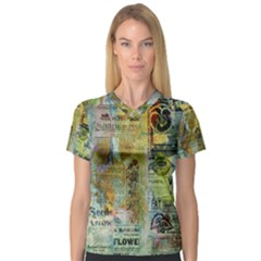 Old Newspaper And Gold Acryl Painting Collage Women s V-Neck Sport Mesh Tee