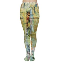 Old Newspaper And Gold Acryl Painting Collage Women s Tights