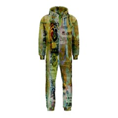 Old Newspaper And Gold Acryl Painting Collage Hooded Jumpsuit (Kids)