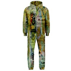 Old Newspaper And Gold Acryl Painting Collage Hooded Jumpsuit (Men)