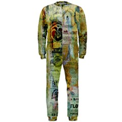 Old Newspaper And Gold Acryl Painting Collage OnePiece Jumpsuit (Men)