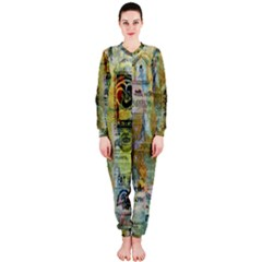 Old Newspaper And Gold Acryl Painting Collage OnePiece Jumpsuit (Ladies)