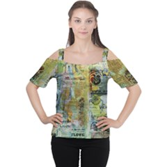 Old Newspaper And Gold Acryl Painting Collage Women s Cutout Shoulder Tee