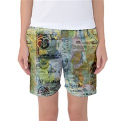 Old Newspaper And Gold Acryl Painting Collage Women s Basketball Shorts