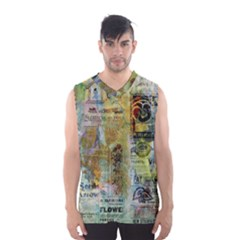 Old Newspaper And Gold Acryl Painting Collage Men s Basketball Tank Top