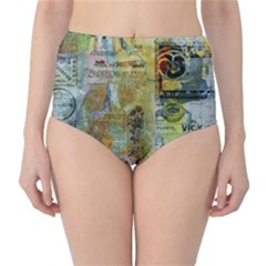 Old Newspaper And Gold Acryl Painting Collage High-Waist Bikini Bottoms