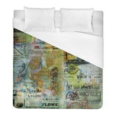 Old Newspaper And Gold Acryl Painting Collage Duvet Cover (Full/ Double Size)