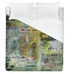 Old Newspaper And Gold Acryl Painting Collage Duvet Cover (Queen Size)