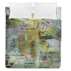 Old Newspaper And Gold Acryl Painting Collage Duvet Cover Double Side (Queen Size)