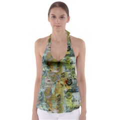 Old Newspaper And Gold Acryl Painting Collage Babydoll Tankini Top